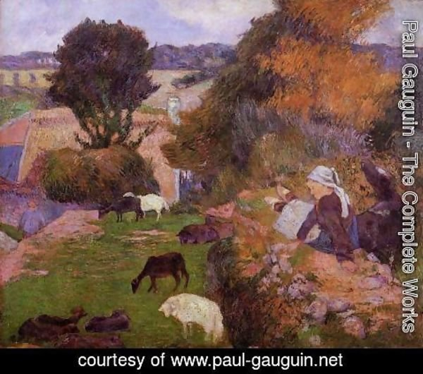 Paul Gauguin - Breton  Shepherdess 2