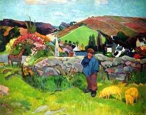 Paul Gauguin - Bretoni landscape with Schweinehirt