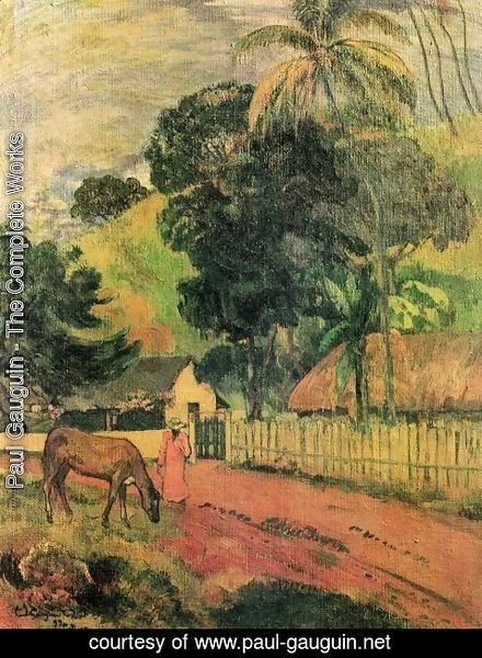 Paul Gauguin - Landscape (horse at the way)