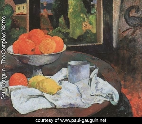 Still life with fruit bowl and lemons