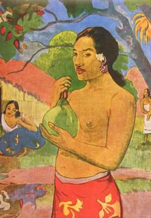 Tahiti woman with fruit, detail