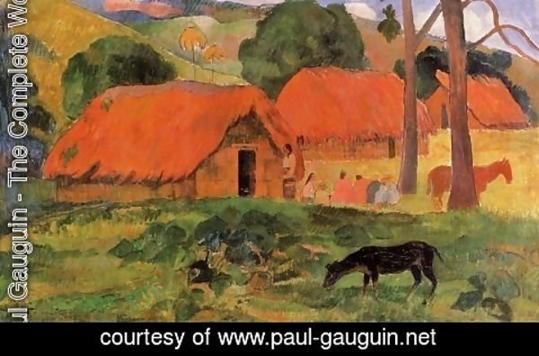 Paul Gauguin - Three Huts, Tahiti