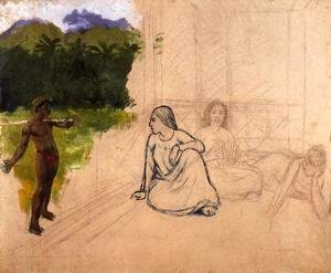 Paul Gauguin - Tahitians at Rest (unfinished) 1891