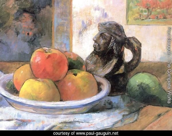 Still life with apple, pear and mug
