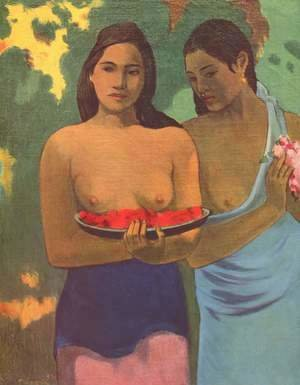 Paul Gauguin - Deux Tahitiennes - Two girls with mango blossoms