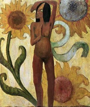 Paul Gauguin - Caribbean Woman with Sunflowers