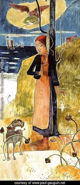 Paul Gauguin - Jeanne d'Arc, or Breton girl spinning