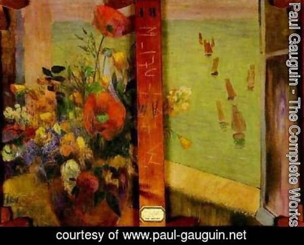 Paul Gauguin - Bouquet of Flowers with a Window Open to the Sea (Reverse of Hay-Making in Brittany)