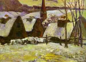 Breton village under snow