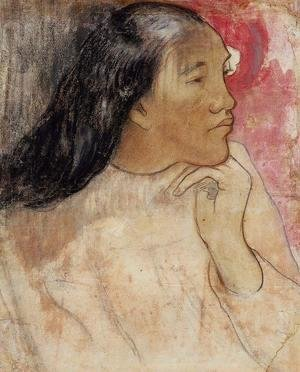A Tahitian Woman With A Flower In Her Hair