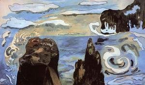Paul Gauguin - At The Black Rocks Aka Rocks By The Sea