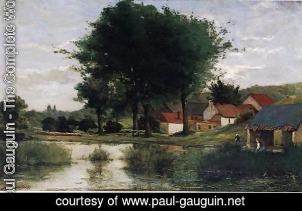 Paul Gauguin - Autumn Landscape Aka Farm And Pond