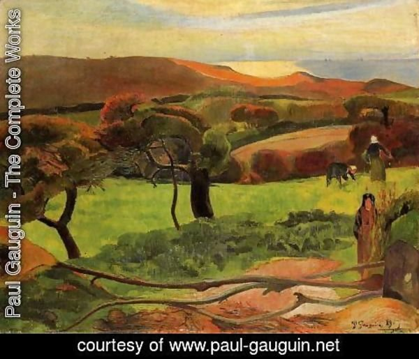 Paul Gauguin - Breton Landscape   Fields By The Sea Aka Le Pouldu