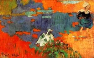 Paul Gauguin - Breton Woman And Goose By The Water