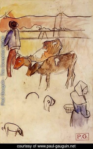 Paul Gauguin - Bretons And Cows (sketch)