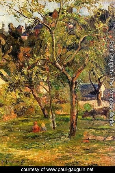 Paul Gauguin - Children In The Pasture Aka Orchard Below Bihorel Church