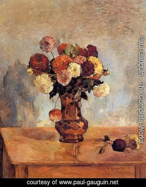 Paul Gauguin - Dahlias In A Copper Vase