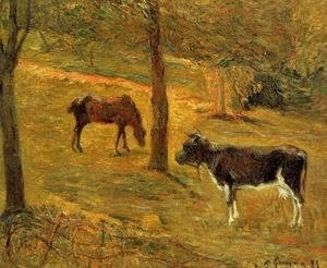 Paul Gauguin - Horse And Cow In A Field