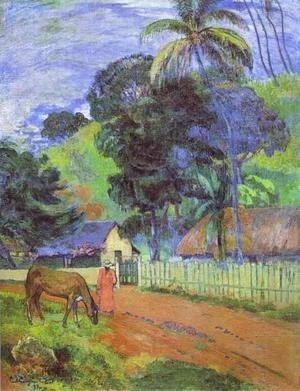 Paul Gauguin - Horse On Road  Tahitian Landscape
