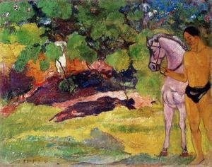 Paul Gauguin - In The Vanilla Grove  Man And Horse Aka The Rendezvous