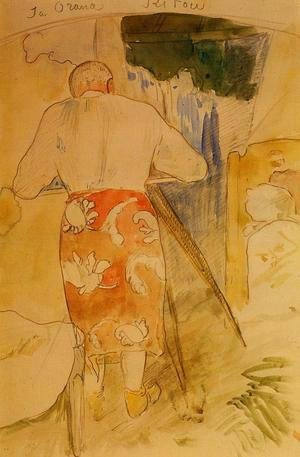 Paul Gauguin - Ja Orana Ritou Aka Self Portrait Of The Artist At His Drawing Table  Tahiti