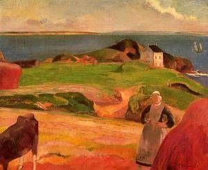 Paul Gauguin - Landscape At Le Pouldu   The Isolated House