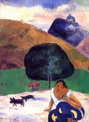Paul Gauguin - Landscape With Black Pigs And A Crouching Tahitian