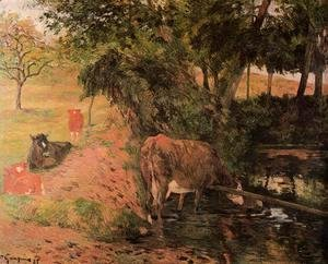 Landscape With Cows In An Orchard