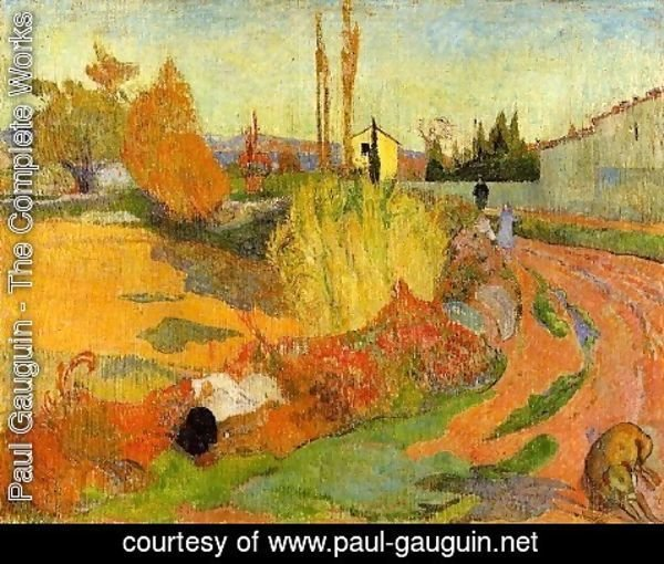 Paul Gauguin - Landscape  Farmhouse In Arles