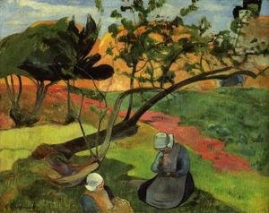 Paul Gauguin - Little Girls Aka Landscape With Two Breton Girls