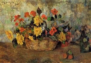 Paul Gauguin - Nasturtiums And Dahlias In A Basket