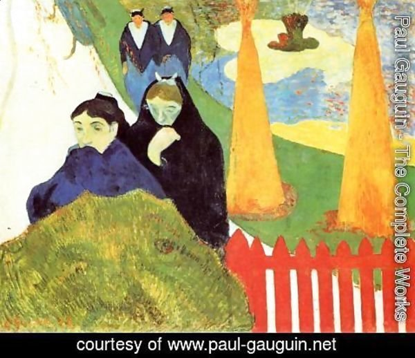 Paul Gauguin - Old Women At Arles Aka Women From Arles In The Public Gardens  The Mistral