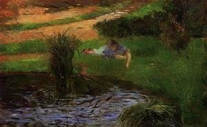 Paul Gauguin - Pond With Ducks Aka Girl Amusing Herself