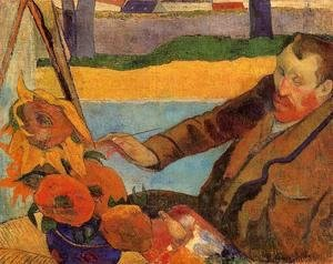 Paul Gauguin - Portrait Of Vincent Van Gogh Painting Sunflowers Aka Villa Rotunda By Emma Ciardi