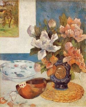 Paul Gauguin - Still Life With Chinese Peonies And Mandolin
