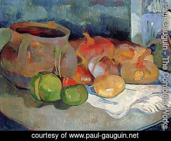 Paul Gauguin - Still Life With Onions  Beetroot And A Japanese Print