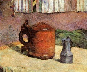 Still  Clay Jug And Iron Mug