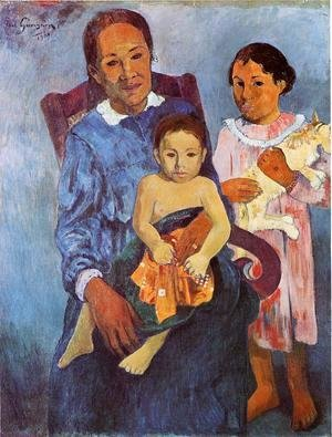 Tahitian Woman And Two Children
