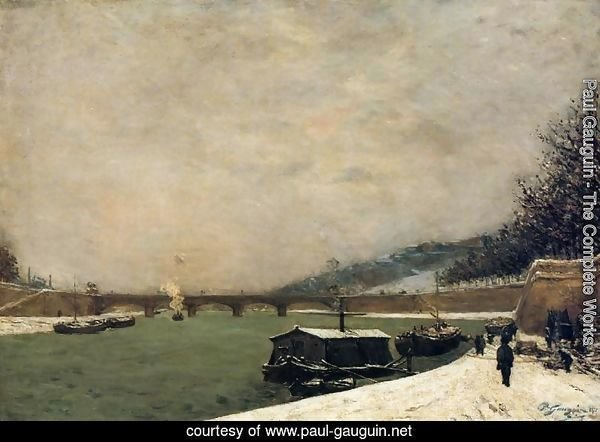 The Seine  Pont D Iena  Snowing