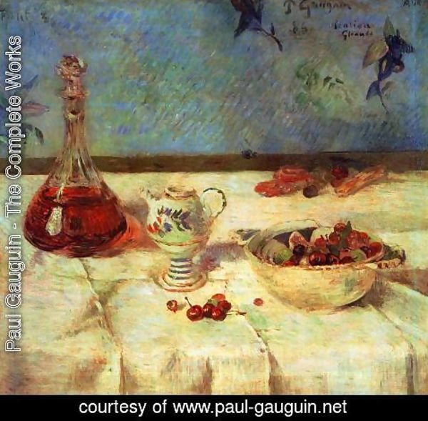 Paul Gauguin - The White Tablecloth Aka Still Life With Cherries