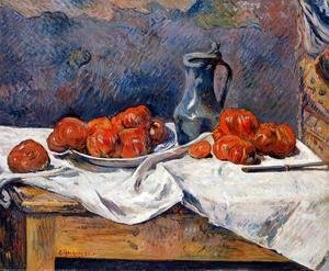 Paul Gauguin - Tomatoes And A Pewter Tankard On A Table