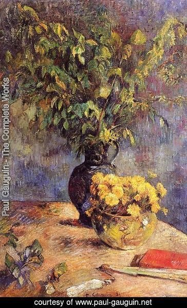 Paul Gauguin - Two Vases Of Flowers And A Fan