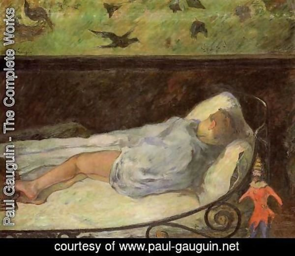 Paul Gauguin - Young Girl Dreaming Aka Study Of A Child Asleep  The Painters Daughter  Line  Rue Carcel