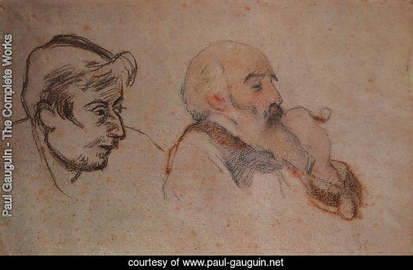 Portrait of Camille Pisarro by Gauguin (right)- Portrait of Paul Gauguin by Pissarro (left), 1879-83