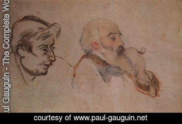 Paul Gauguin - Portrait of Camille Pisarro by Gauguin (right)- Portrait of Paul Gauguin by Pissarro (left), 1879-83